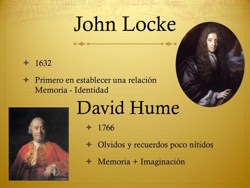 John Locke 1766 Olvidos y recuerdos poco nítidos Memoria + Imaginación 1632 Primero en establecer una relación Memoria - Identidad David Hume