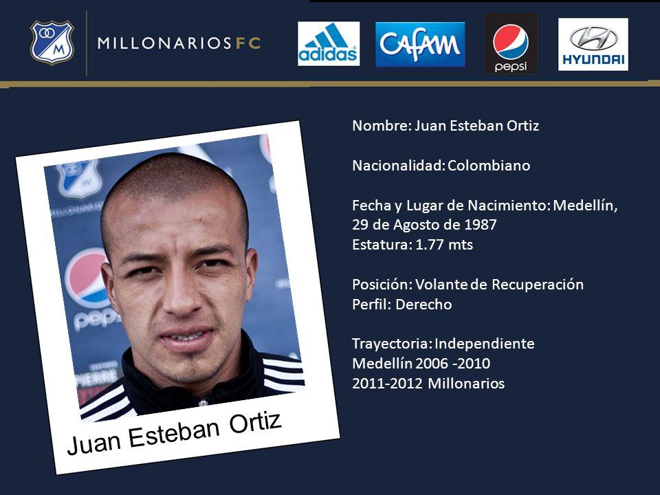 Juan Esteban Ortiz Nombre: Juan Esteban Ortiz Nacionalidad: Colombiano Fecha y Lugar de Nacimiento: Medellín, 29 de Agosto de 1987 Estatura: 1.77 mts