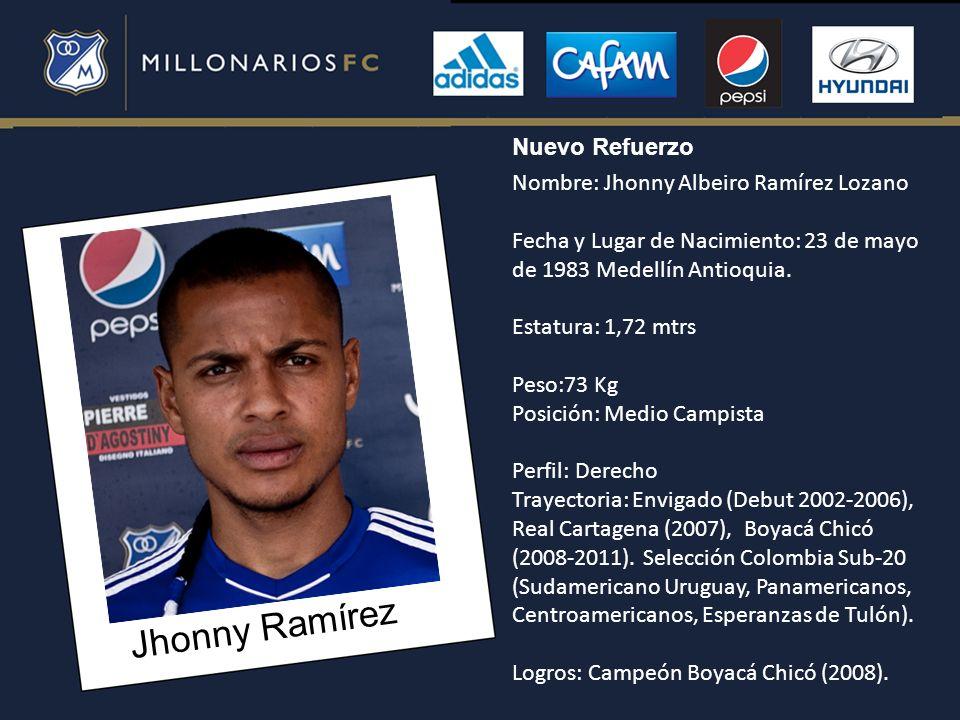 Jhonny Ramírez Nombre: Jhonny Albeiro Ramírez Lozano Fecha y Lugar de Nacimiento: 23 de mayo de 1983 Medellín Antioquia. Estatura: 1,72 mtrs Peso:73 K
