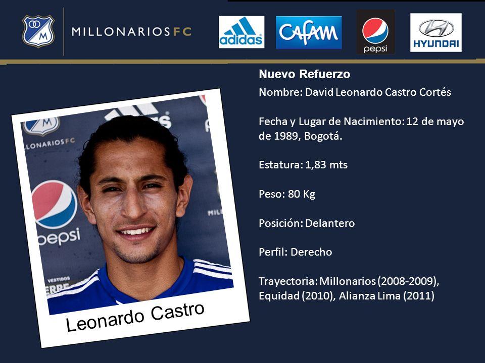 Leonardo Castro Nombre: David Leonardo Castro Cortés Fecha y Lugar de Nacimiento: 12 de mayo de 1989, Bogotá. Estatura: 1,83 mts Peso: 80 Kg Posición: