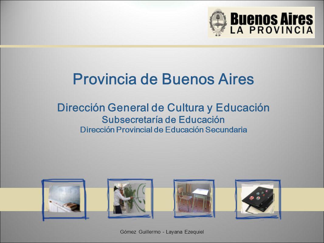 Provincia de Buenos Aires Dirección General de Cultura y Educación Subsecretaría de Educación Dirección Provincial de Educación Secundaria Gómez Guillermo - Layana Ezequiel
