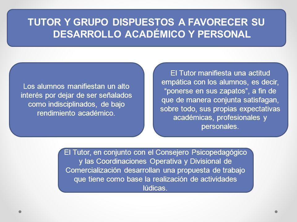 TUTOR Y GRUPO DISPUESTOS A FAVORECER SU DESARROLLO ACADÉMICO Y PERSONAL Los alumnos manifiestan un alto interés por dejar de ser señalados como indisciplinados, de bajo rendimiento académico.