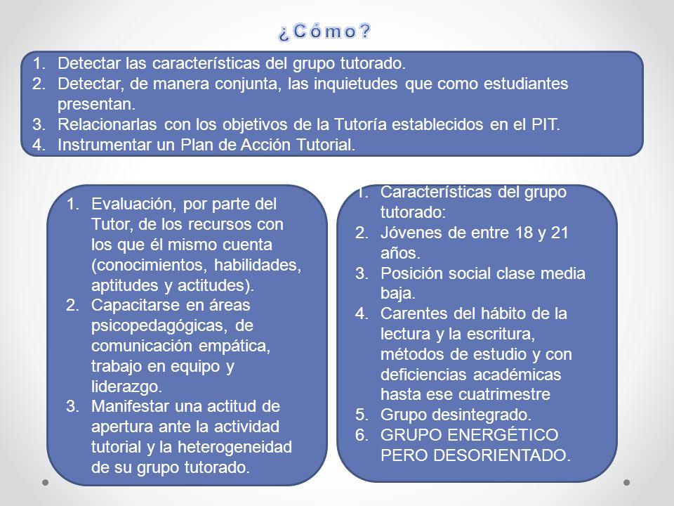1.Detectar las características del grupo tutorado.
