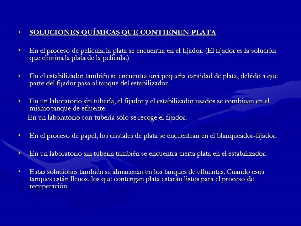 Protección ambiental: En muchos lugares es ilegal verterProtección ambiental: En muchos lugares es ilegal verter grandes concentraciones de plata en l