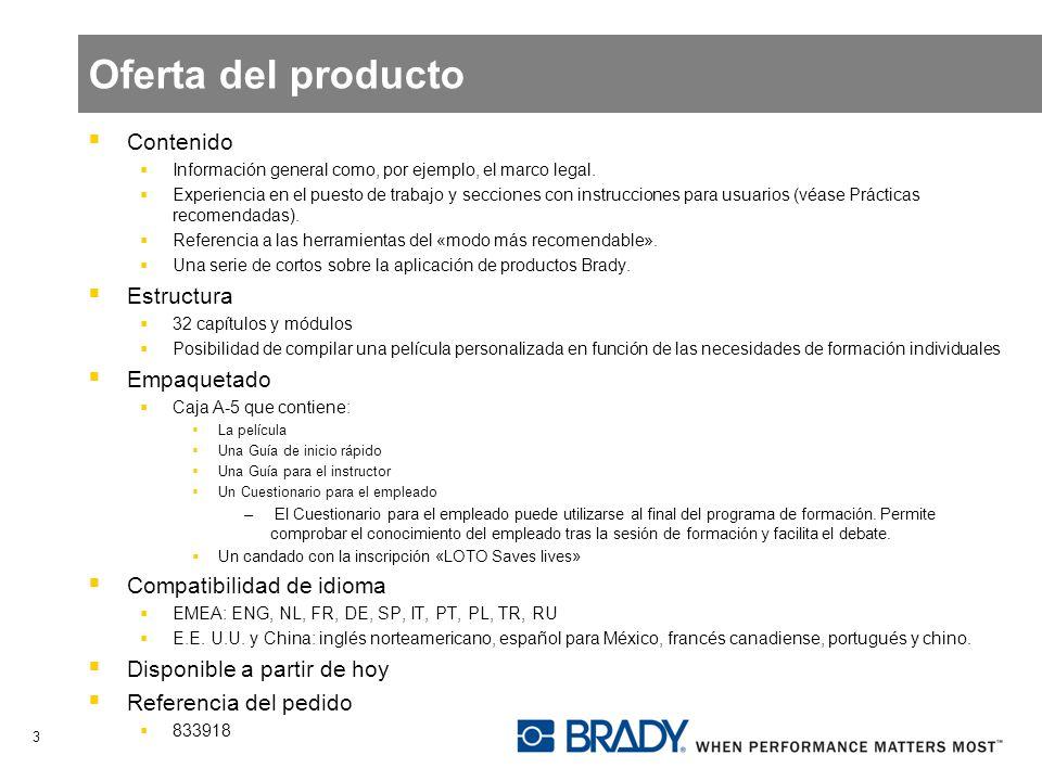 Oferta del producto Contenido Información general como, por ejemplo, el marco legal. Experiencia en el puesto de trabajo y secciones con instrucciones