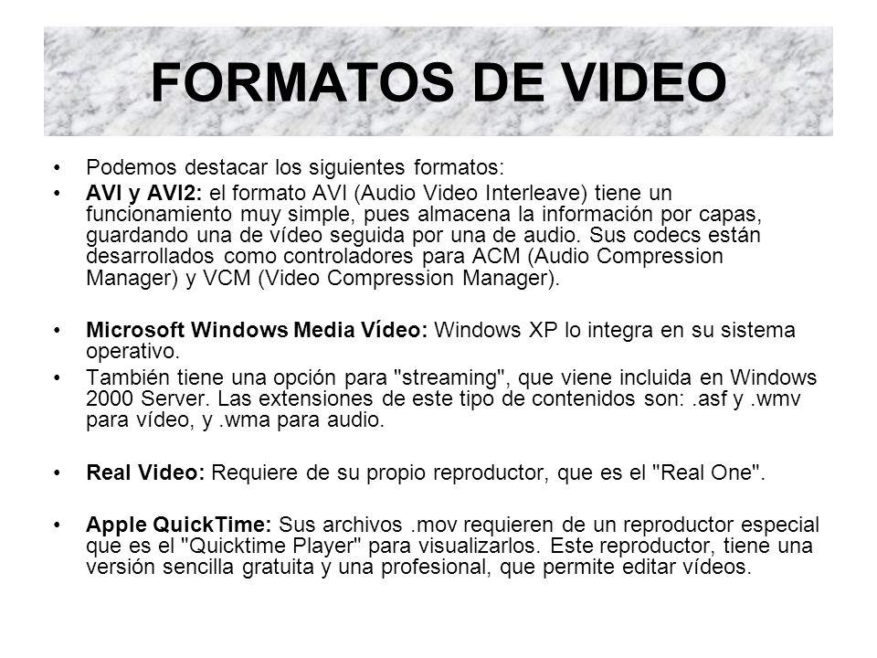 TIPO DE CODECS Los codecs de vídeo más usados actualmente son: Sin Compresión: aunque no es muy normal usar vídeo sin comprimir, es de los que pueden ofrecernos la máxima calidad posible, ya que no sufre ninguna alteración.