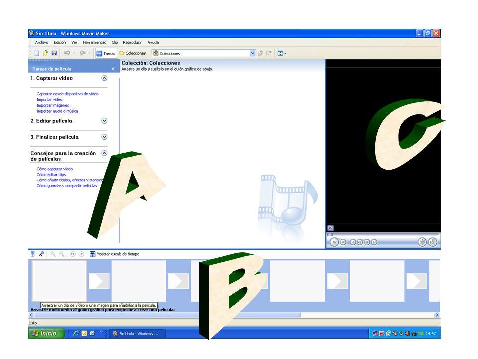PROGRAMA WINDOWS MEDIA MAKER Zona A El menú nos permite importar videos, imágenes y sonidos para componer nuestro propio video.
