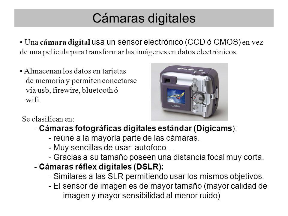 Una cámara digital usa un sensor electrónico (CCD ó CMOS) en vez de una película para transformar las imágenes en datos electrónicos.