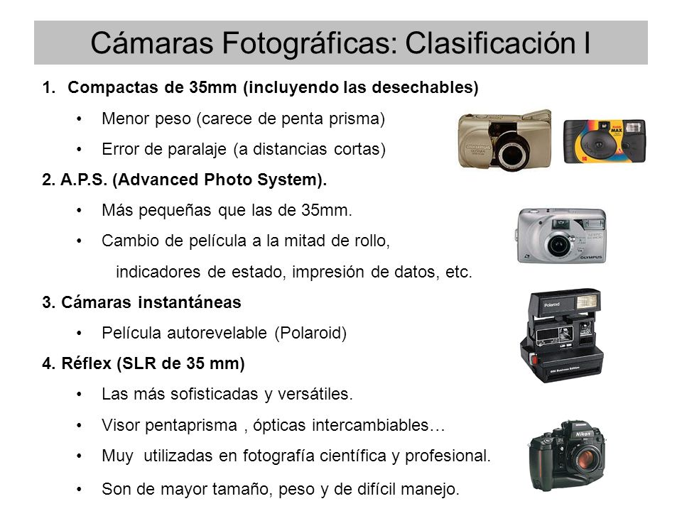 1.Compactas de 35mm (incluyendo las desechables) Menor peso (carece de penta prisma) Error de paralaje (a distancias cortas) 2. A.P.S. (Advanced Photo