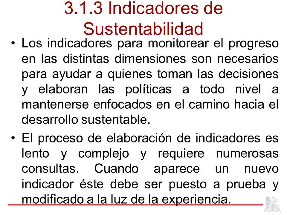 3.1.3 Indicadores de Sustentabilidad Los indicadores para monitorear el progreso en las distintas dimensiones son necesarios para ayudar a quienes tom