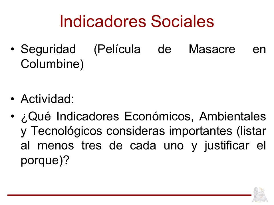 Indicadores Sociales Seguridad (Película de Masacre en Columbine) Actividad: ¿Qué Indicadores Económicos, Ambientales y Tecnológicos consideras import