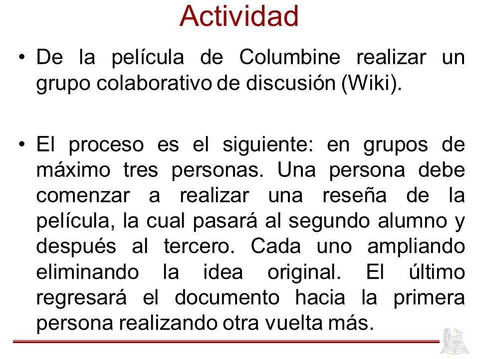 Actividad De la película de Columbine realizar un grupo colaborativo de discusión (Wiki). El proceso es el siguiente: en grupos de máximo tres persona
