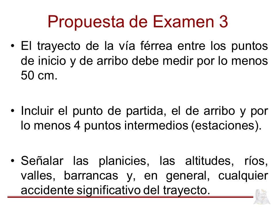 Propuesta de Examen 3 El trayecto de la vía férrea entre los puntos de inicio y de arribo debe medir por lo menos 50 cm. Incluir el punto de partida,