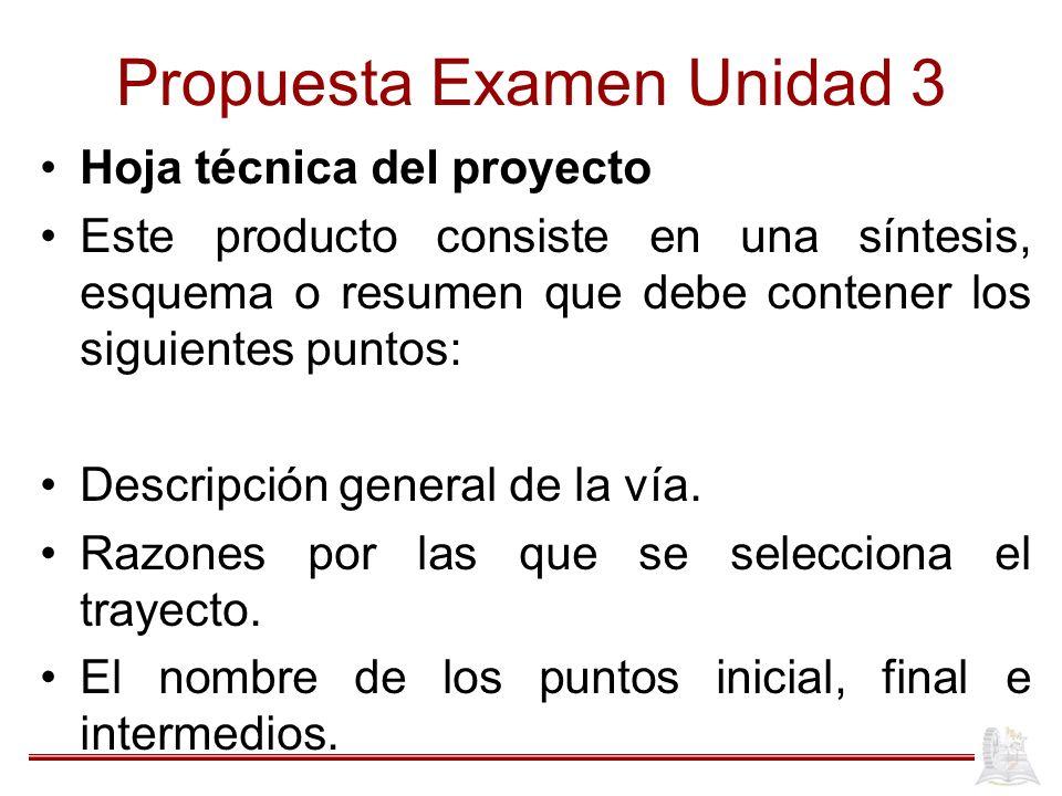 Propuesta Examen Unidad 3 Hoja técnica del proyecto Este producto consiste en una síntesis, esquema o resumen que debe contener los siguientes puntos: