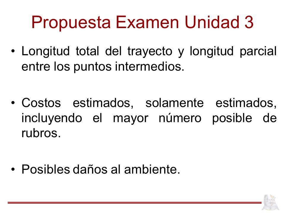 Propuesta Examen Unidad 3 Longitud total del trayecto y longitud parcial entre los puntos intermedios. Costos estimados, solamente estimados, incluyen