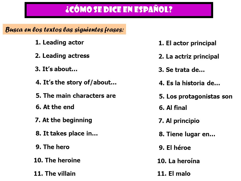 ¿CÓMO SE DICE EN ESPAñOL? Busca en los textos las siguientes frases: 1. Leading actor 2. Leading actress 3. Its about… 11. The villain 4. Its the stor