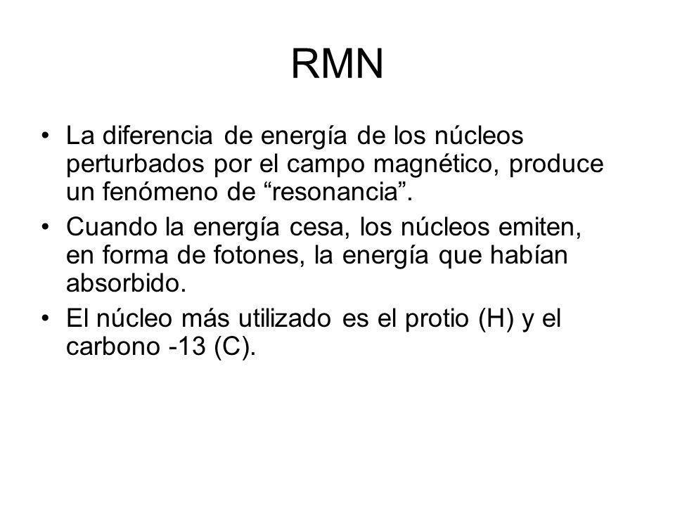 RMN La diferencia de energía de los núcleos perturbados por el campo magnético, produce un fenómeno de resonancia. Cuando la energía cesa, los núcleos