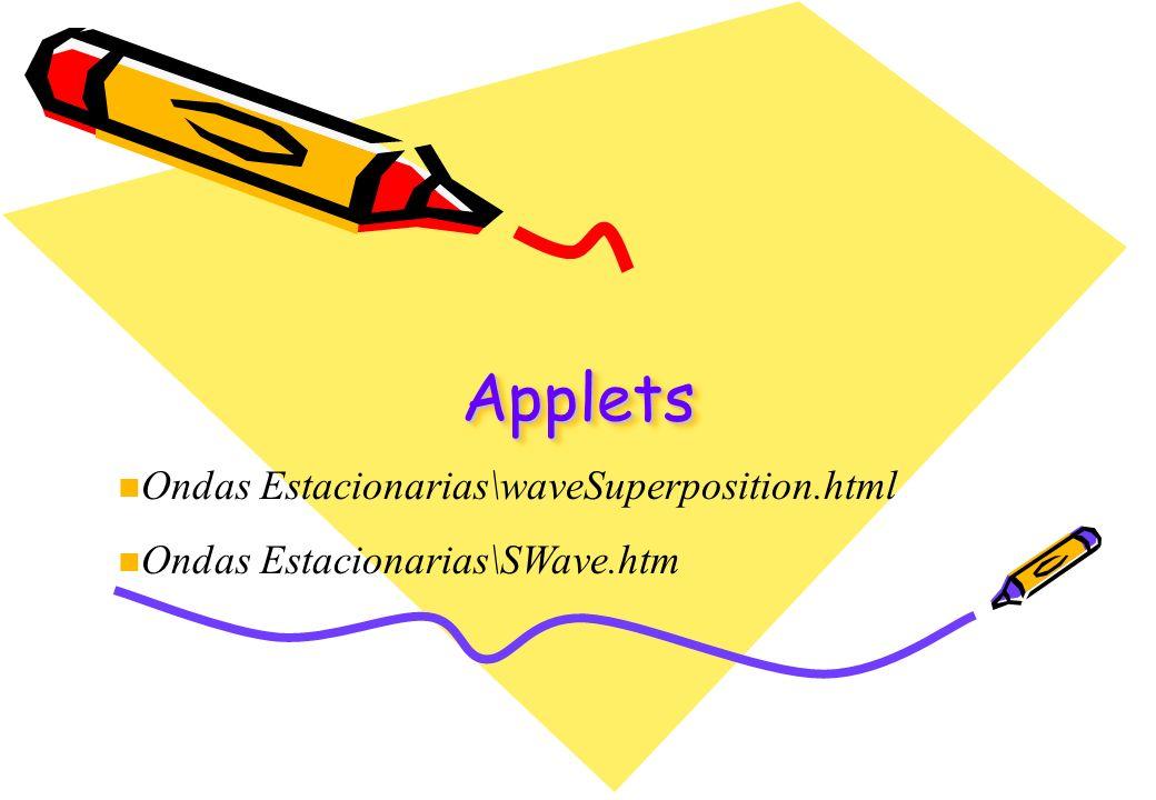 AppletsApplets n Ondas Estacionarias\waveSuperposition.html n Ondas Estacionarias\SWave.htm