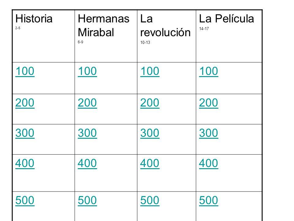Historia 2-5 Hermanas Mirabal 6-9 La revolución 10-13 La Película 14-17 100 200 300 400 500