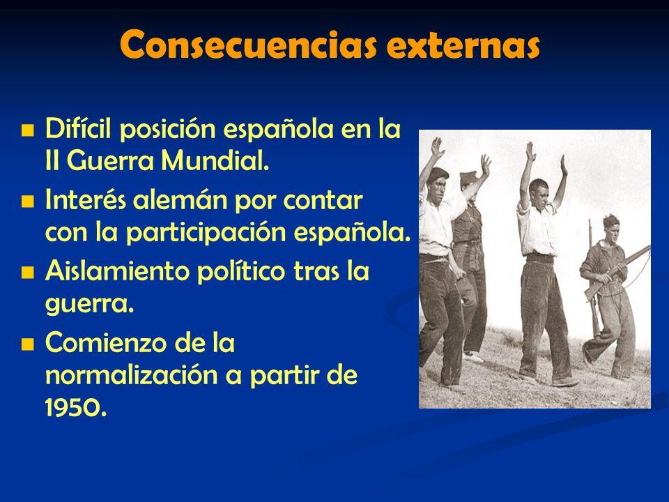 Consecuencias externas Difícil posición española en la II Guerra Mundial. Interés alemán por contar con la participación española. Aislamiento polític