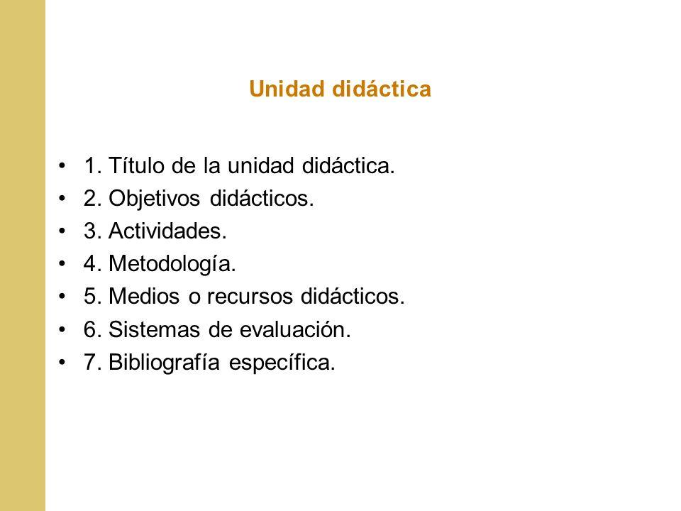 Unidad didáctica 1. Título de la unidad didáctica. 2. Objetivos didácticos. 3. Actividades. 4. Metodología. 5. Medios o recursos didácticos. 6. Sistem