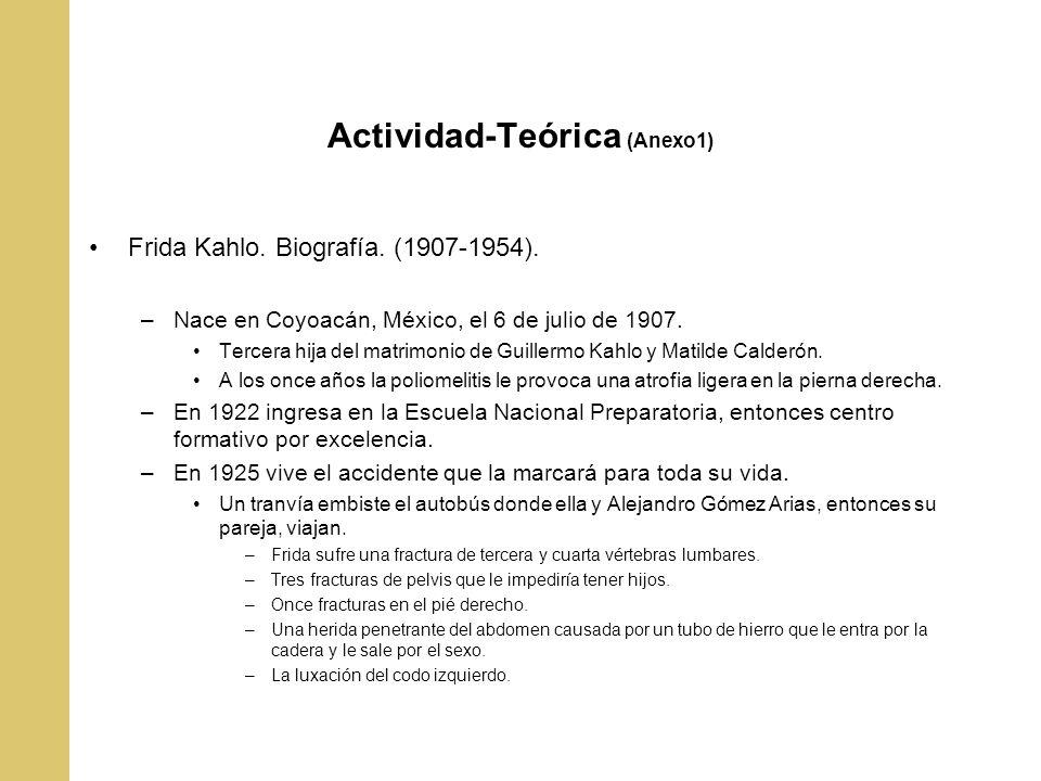 Actividad-Teórica (Anexo1) Frida Kahlo. Biografía. (1907-1954). –Nace en Coyoacán, México, el 6 de julio de 1907. Tercera hija del matrimonio de Guill