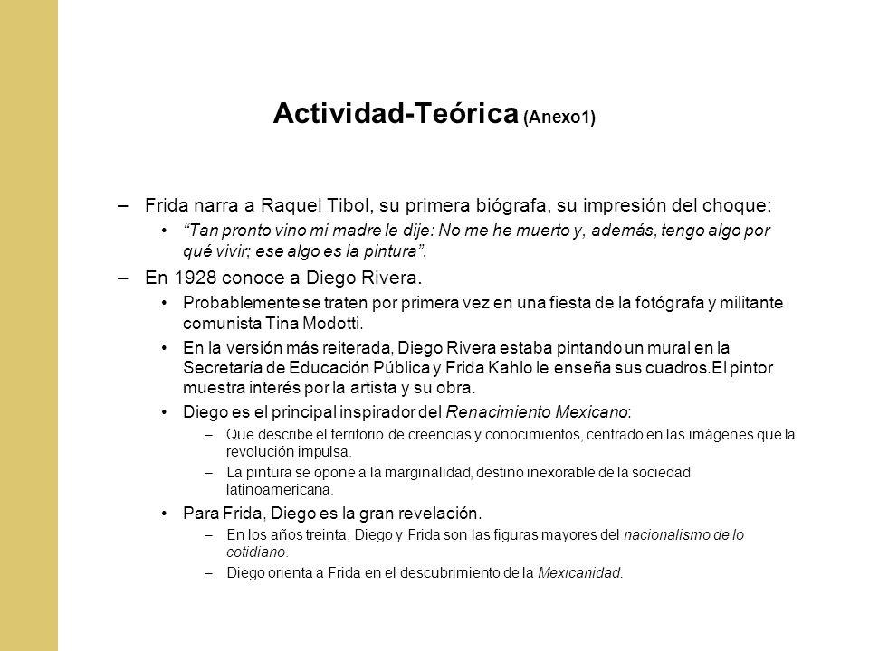Actividad-Teórica (Anexo1) –Frida narra a Raquel Tibol, su primera biógrafa, su impresión del choque: Tan pronto vino mi madre le dije: No me he muert