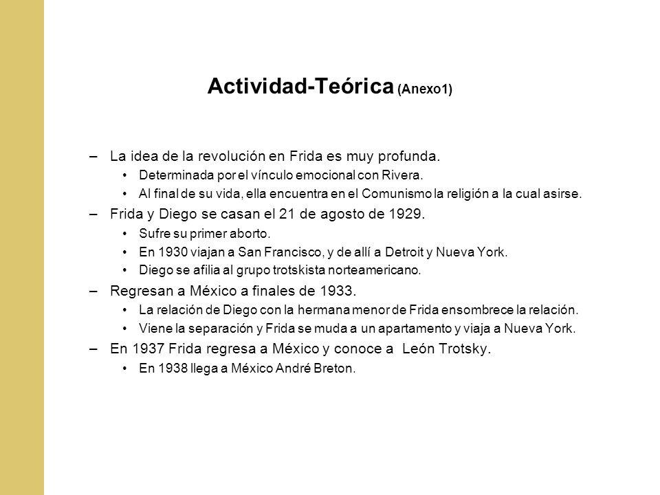 Actividad-Teórica (Anexo1) –La idea de la revolución en Frida es muy profunda. Determinada por el vínculo emocional con Rivera. Al final de su vida, e