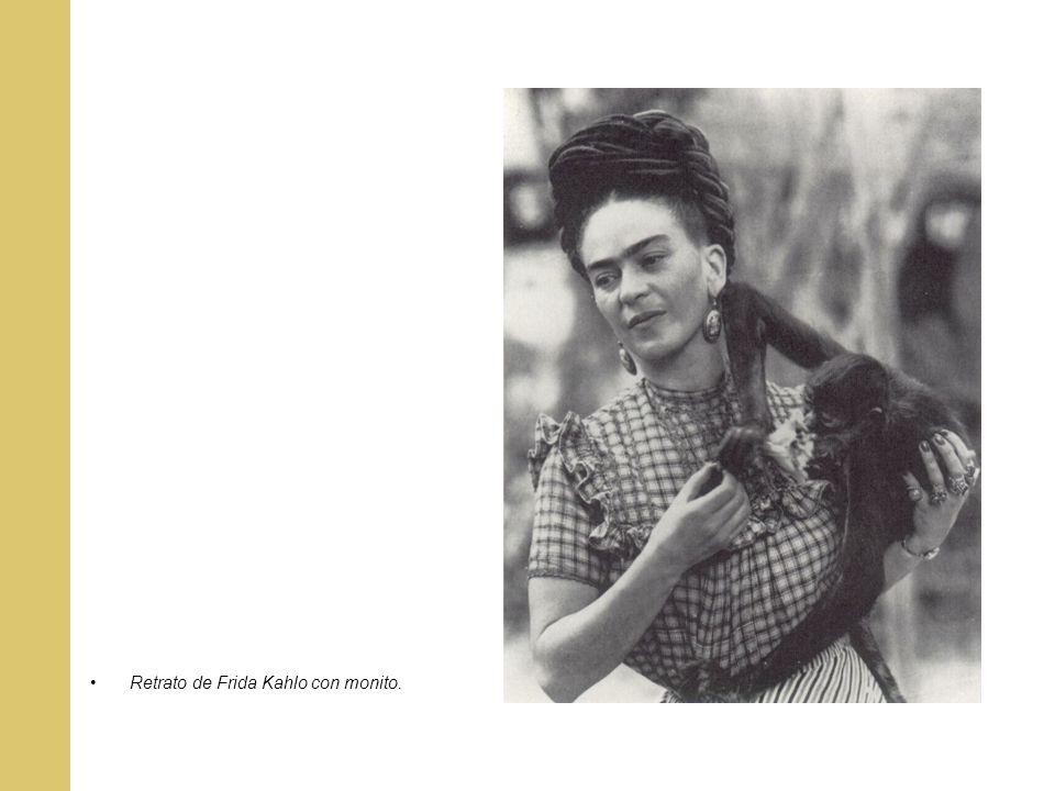 Retrato de Frida Kahlo con monito.
