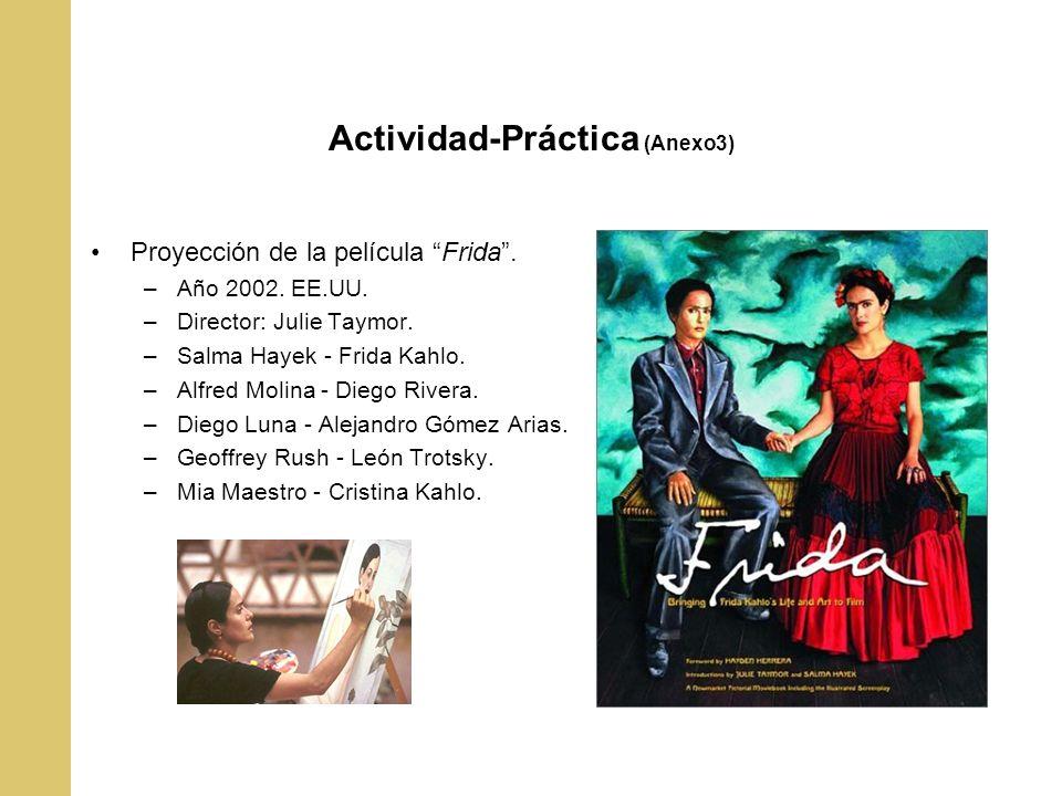 Actividad-Práctica (Anexo3) Proyección de la película Frida. –Año 2002. EE.UU. –Director: Julie Taymor. –Salma Hayek - Frida Kahlo. –Alfred Molina - D