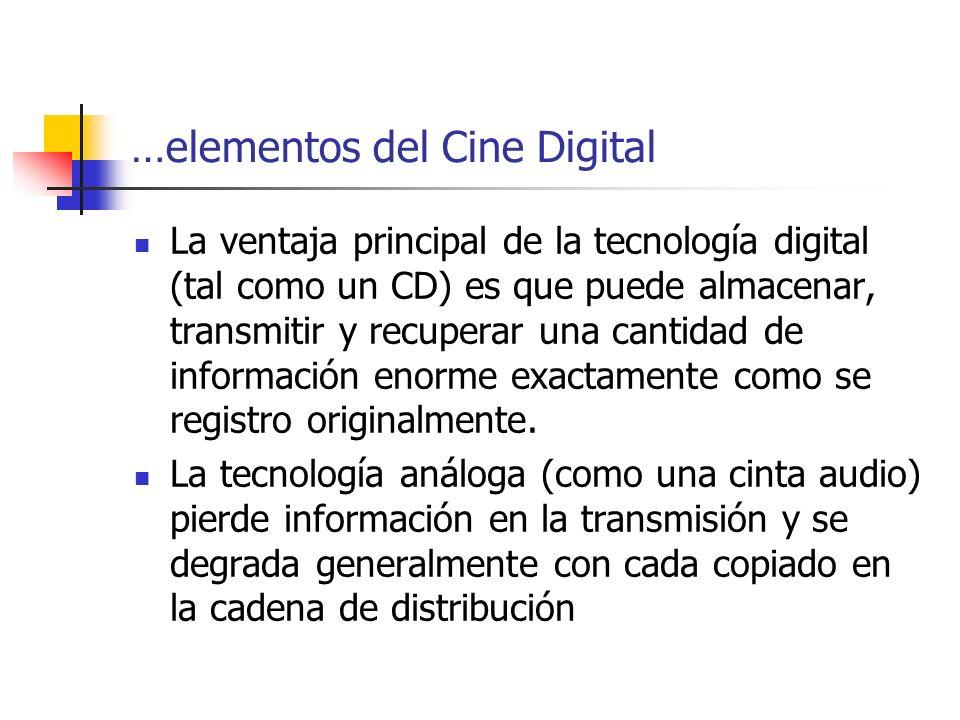 …elementos del Cine Digital La ventaja principal de la tecnología digital (tal como un CD) es que puede almacenar, transmitir y recuperar una cantidad