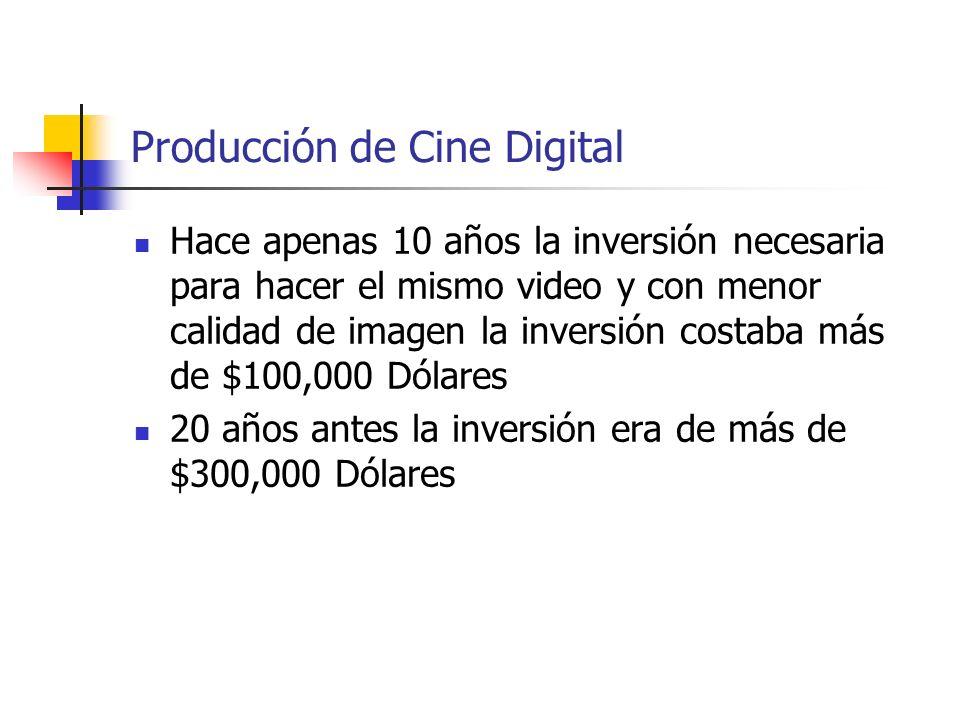Producción de Cine Digital Hace apenas 10 años la inversión necesaria para hacer el mismo video y con menor calidad de imagen la inversión costaba más