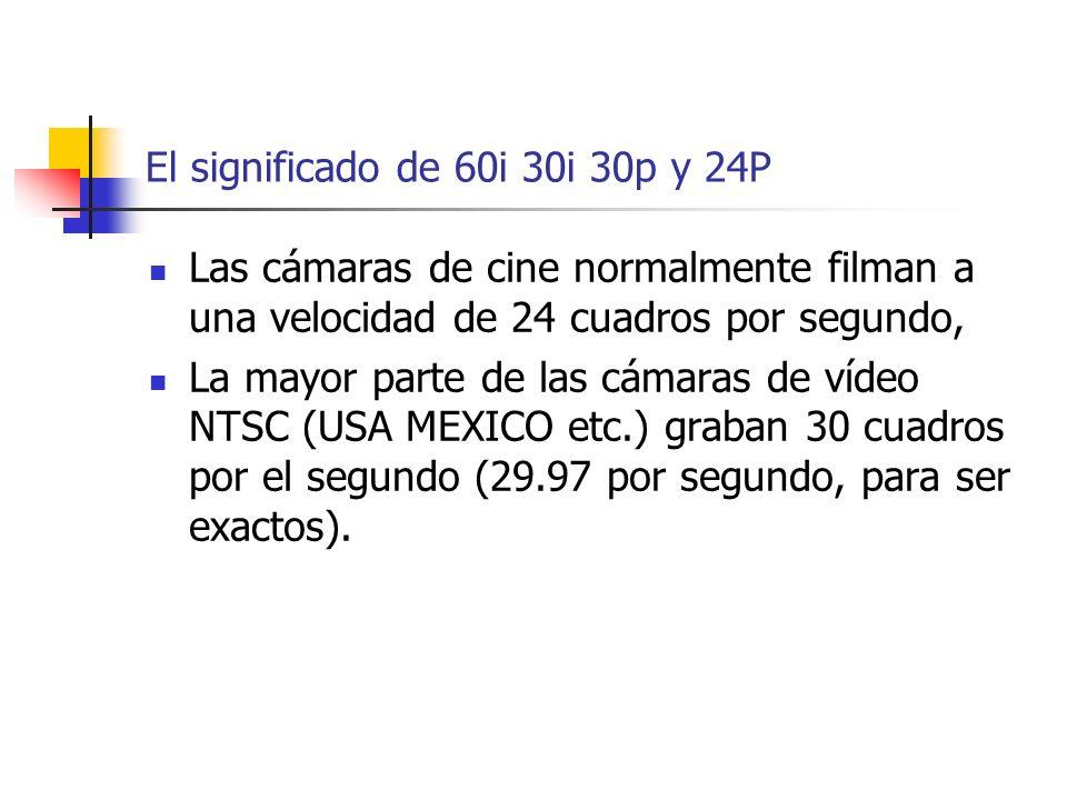 El significado de 60i 30i 30p y 24P Las cámaras de cine normalmente filman a una velocidad de 24 cuadros por segundo, La mayor parte de las cámaras de