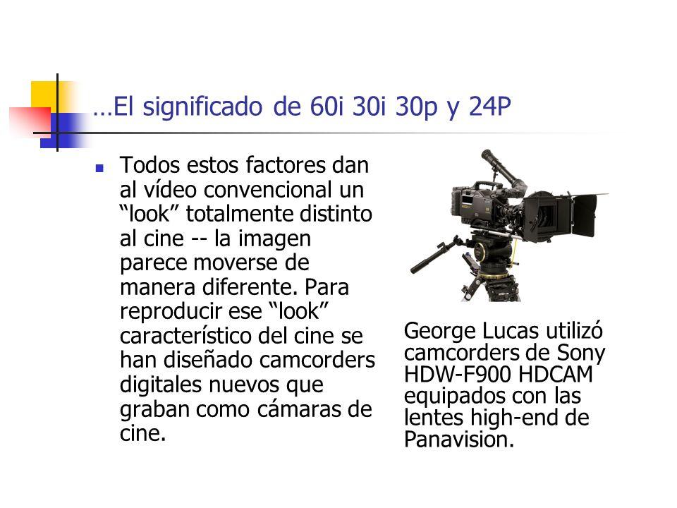…El significado de 60i 30i 30p y 24P Todos estos factores dan al vídeo convencional un look totalmente distinto al cine -- la imagen parece moverse de