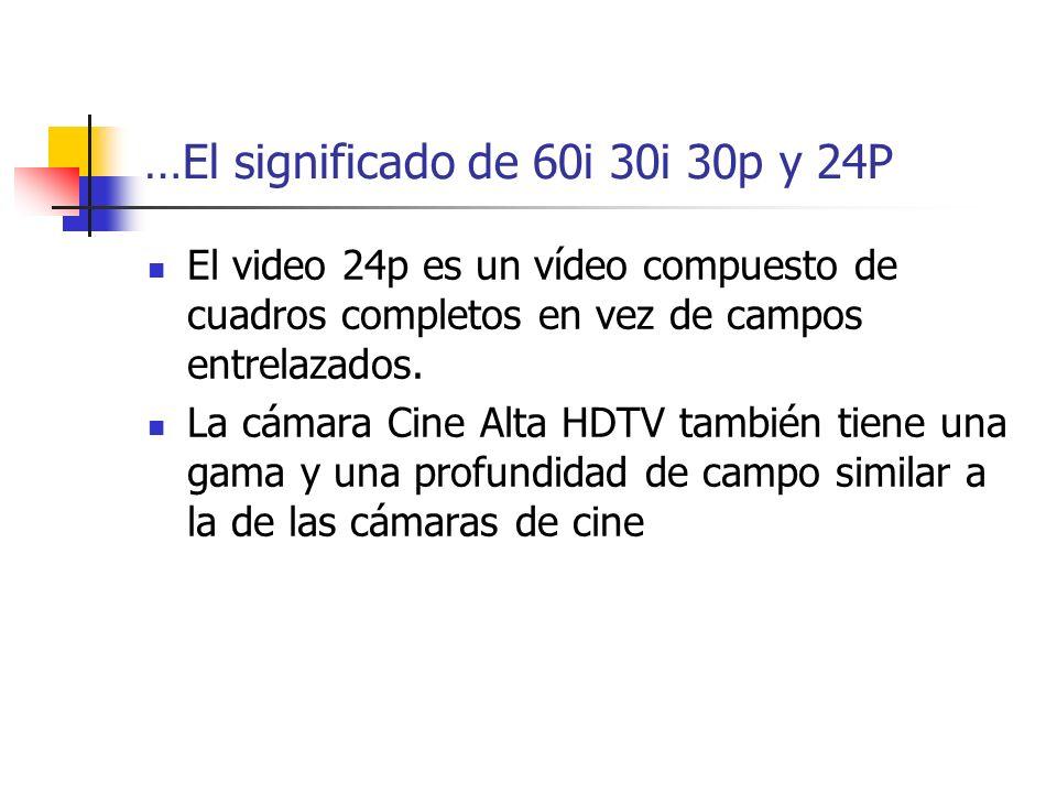 …El significado de 60i 30i 30p y 24P El video 24p es un vídeo compuesto de cuadros completos en vez de campos entrelazados. La cámara Cine Alta HDTV t