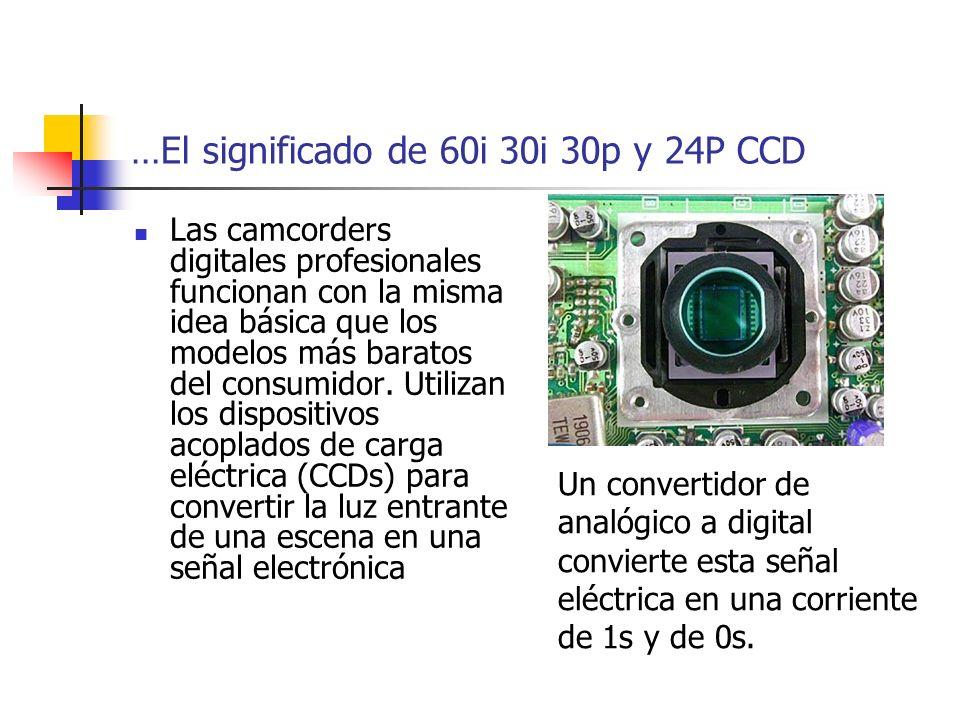 …El significado de 60i 30i 30p y 24P CCD Las camcorders digitales profesionales funcionan con la misma idea básica que los modelos más baratos del con
