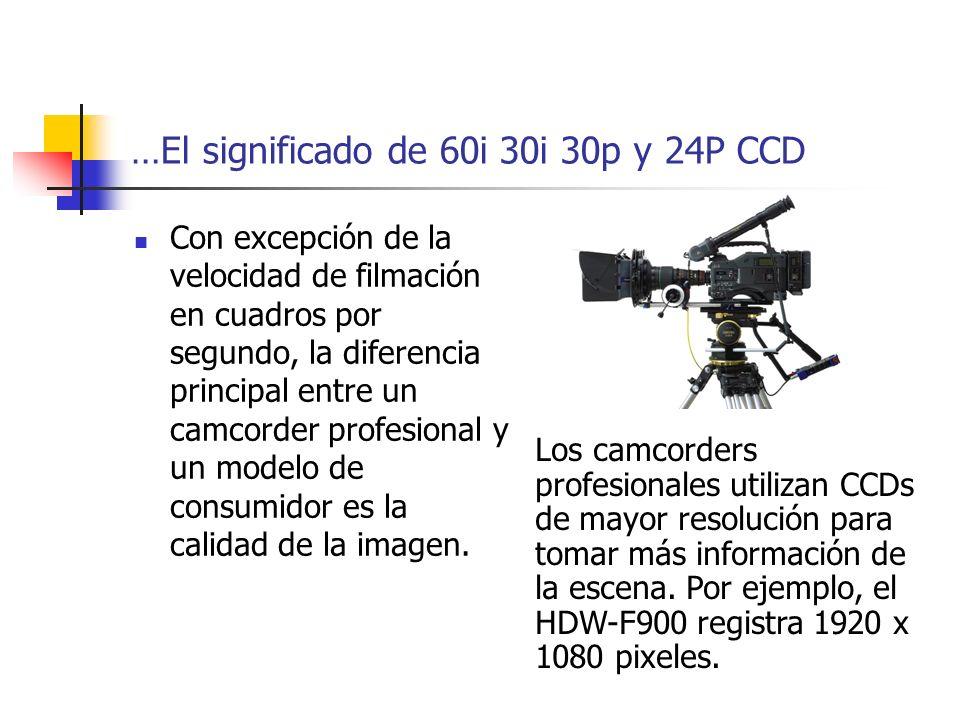 …El significado de 60i 30i 30p y 24P CCD Con excepción de la velocidad de filmación en cuadros por segundo, la diferencia principal entre un camcorder