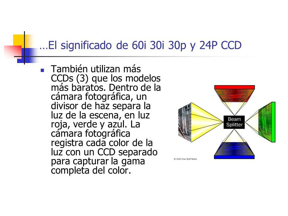 …El significado de 60i 30i 30p y 24P CCD También utilizan más CCDs (3) que los modelos más baratos. Dentro de la cámara fotográfica, un divisor de haz