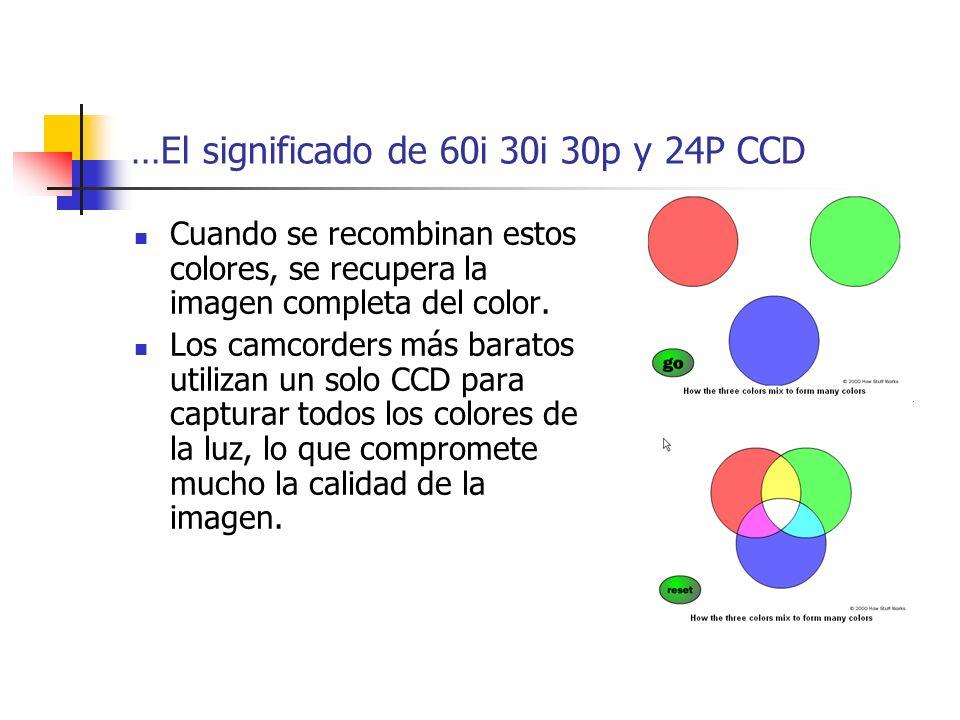 …El significado de 60i 30i 30p y 24P CCD Cuando se recombinan estos colores, se recupera la imagen completa del color. Los camcorders más baratos util