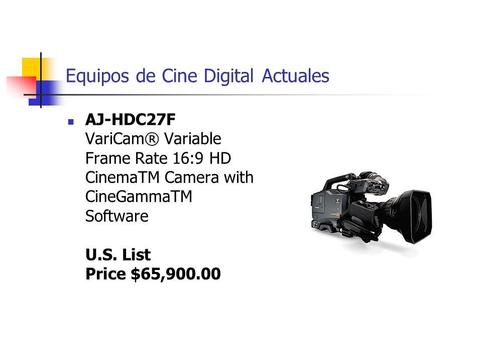 Equipos de Cine Digital Actuales AJ-HDC27F VariCam® Variable Frame Rate 16:9 HD CinemaTM Camera with CineGammaTM Software U.S. List Price $65,900.00