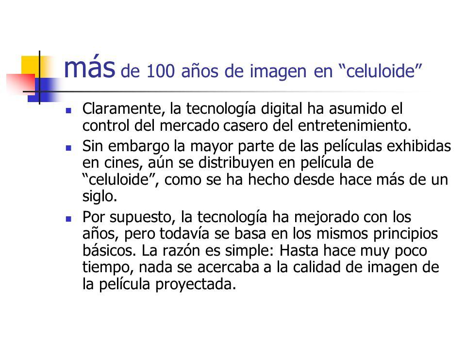 más de 100 años de imagen en celuloide Claramente, la tecnología digital ha asumido el control del mercado casero del entretenimiento. Sin embargo la