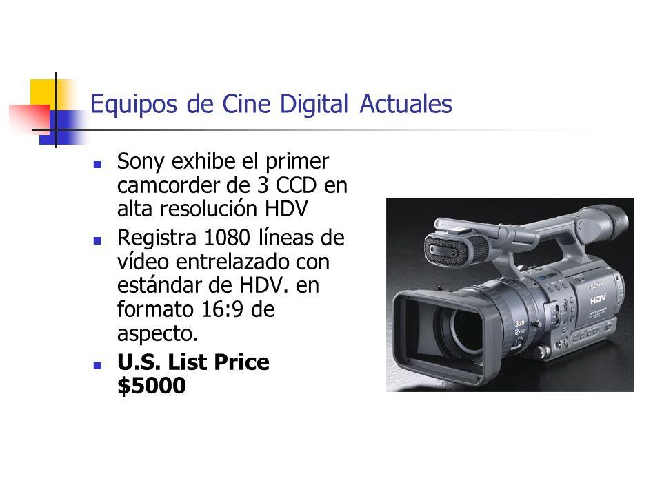 Equipos de Cine Digital Actuales Sony exhibe el primer camcorder de 3 CCD en alta resolución HDV Registra 1080 líneas de vídeo entrelazado con estánda