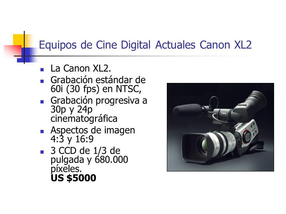 Equipos de Cine Digital Actuales Canon XL2 La Canon XL2. Grabación estándar de 60i (30 fps) en NTSC, Grabación progresiva a 30p y 24p cinematográfica