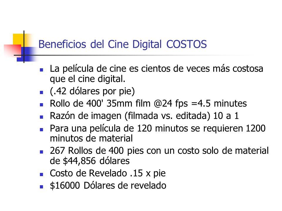 Beneficios del Cine Digital COSTOS La película de cine es cientos de veces más costosa que el cine digital. (.42 dólares por pie) Rollo de 400' 35mm f