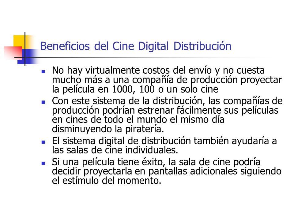 Beneficios del Cine Digital Distribución No hay virtualmente costos del envío y no cuesta mucho más a una compañía de producción proyectar la película