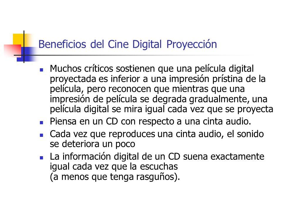 Beneficios del Cine Digital Proyección Muchos críticos sostienen que una película digital proyectada es inferior a una impresión prístina de la pelícu