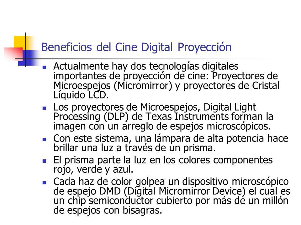Beneficios del Cine Digital Proyección Actualmente hay dos tecnologías digitales importantes de proyección de cine: Proyectores de Microespejos (Micro