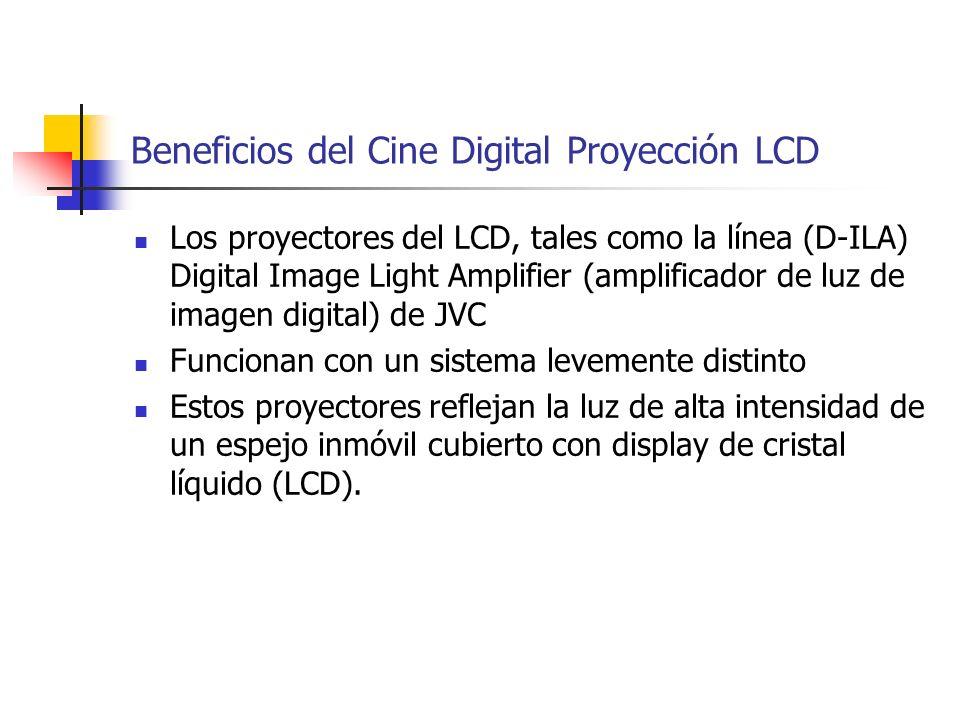 Beneficios del Cine Digital Proyección LCD Los proyectores del LCD, tales como la línea (D-ILA) Digital Image Light Amplifier (amplificador de luz de
