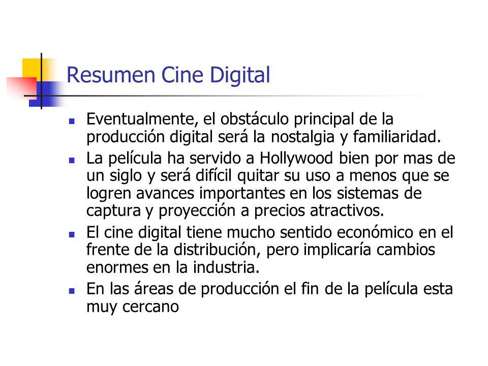 Resumen Cine Digital Eventualmente, el obstáculo principal de la producción digital será la nostalgia y familiaridad. La película ha servido a Hollywo