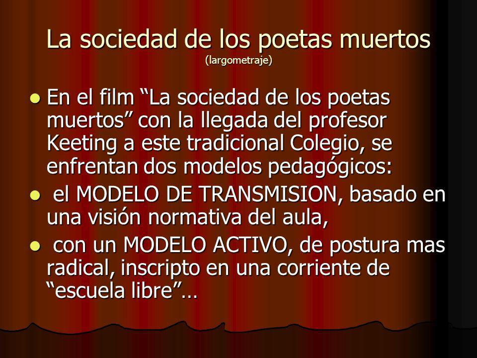 La sociedad de los poetas muertos (largometraje) En el film La sociedad de los poetas muertos con la llegada del profesor Keeting a este tradicional C